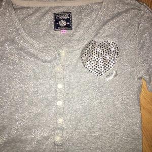 VS Pink Silver Glitter Henley Button Frnt Long Slv